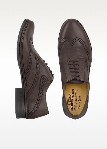 Dark Brown Handmade Italian Leather Wingtip Oxford Shoes - Pakerson