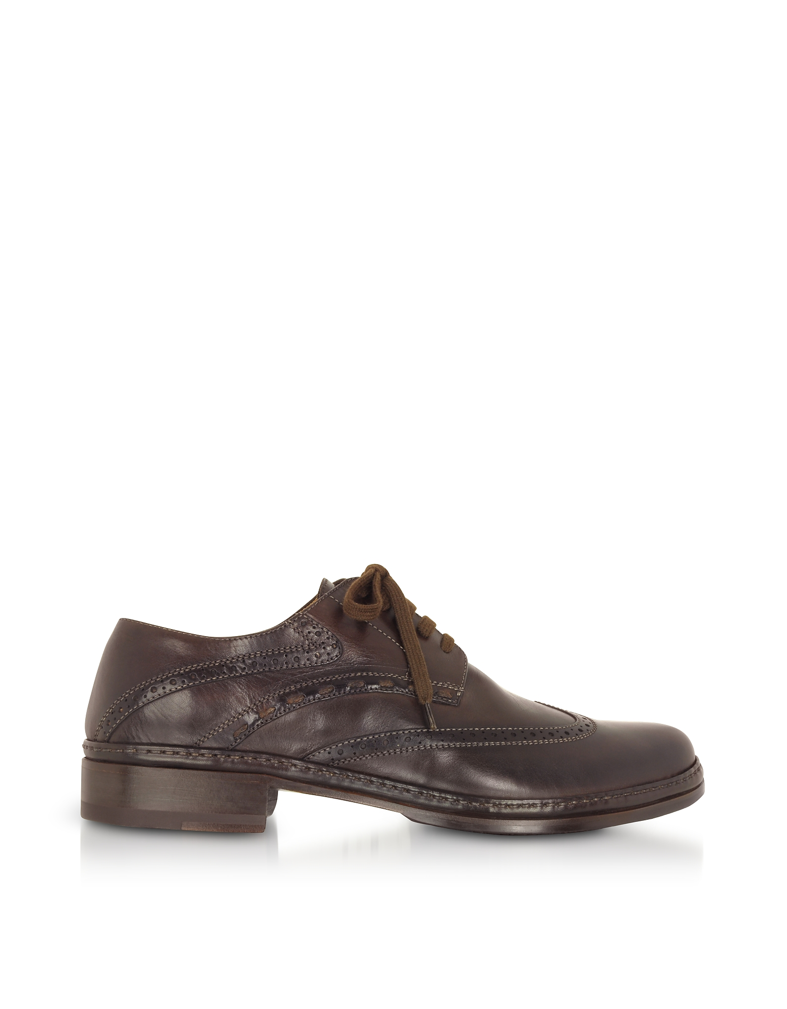 Pakerson Shoes, Dark Brown Handmade Italian Leather Wingtip Oxford Shoes