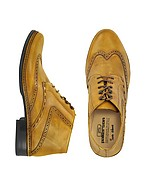 Lux-ID 208347 Ocher Handmade Italian Leather Wingtip Ankle Boots