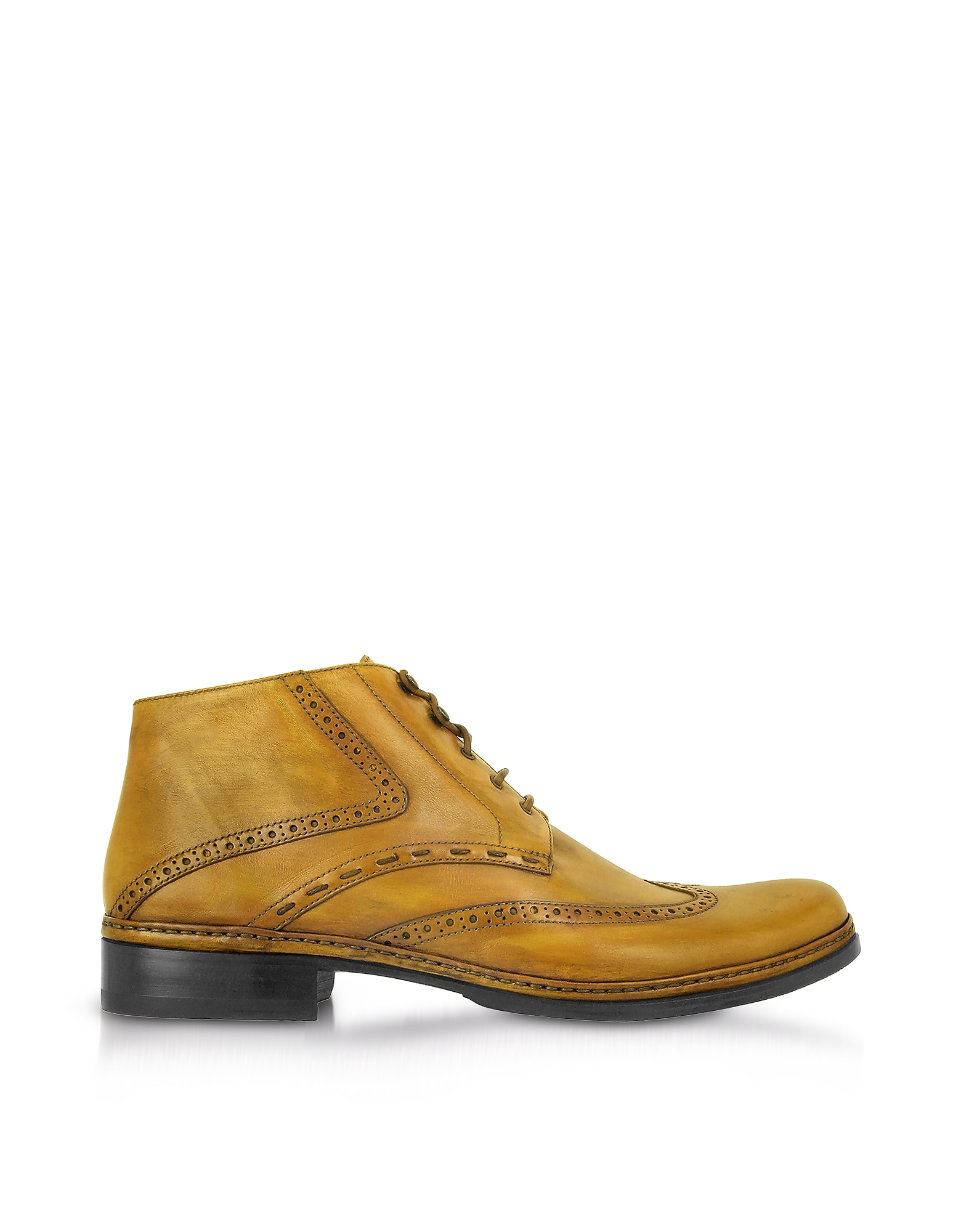 Pakerson Designer Shoes, Yellow Handmade Italian Leather Wingtip Ankle Boots