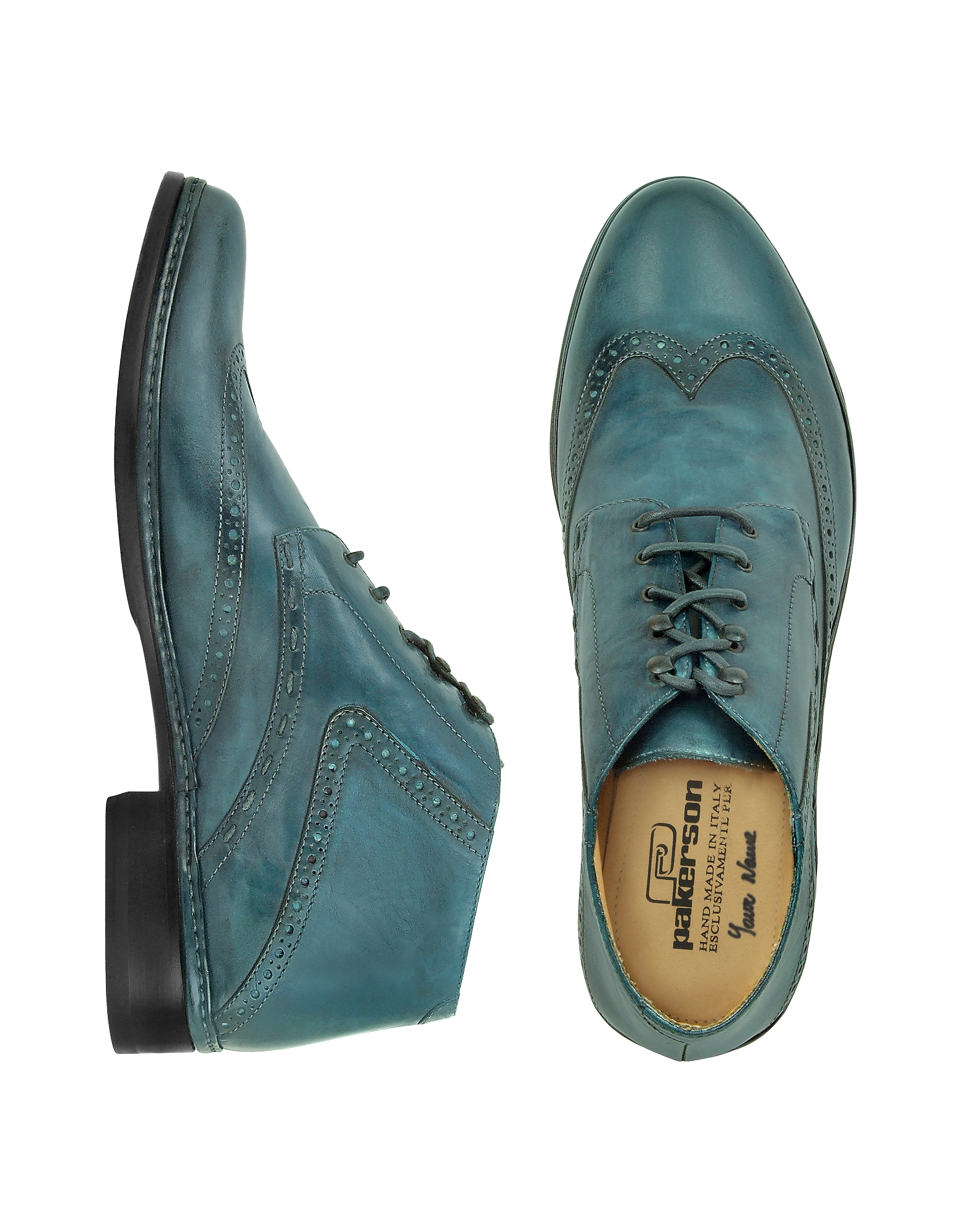 Pakerson Shoes, Petrol Blue Handmade Italian Leather Wingtip Ankle Boots