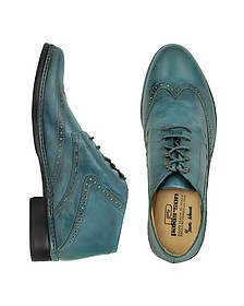 Petrol Blue Handmade Italian Leather Wingtip Ankle Boots - Pakerson