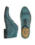 Lux-ID 206745 Petrol Blue Handmade Italian Leather Wingtip Ankle Boots