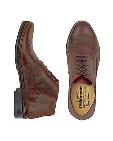 Burgundy Handmade Italian Leather Wingtip Ankle Boots - Pakerson