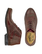 Lux-ID 208383 Burgundy Handmade Italian Leather Wingtip Ankle Boots