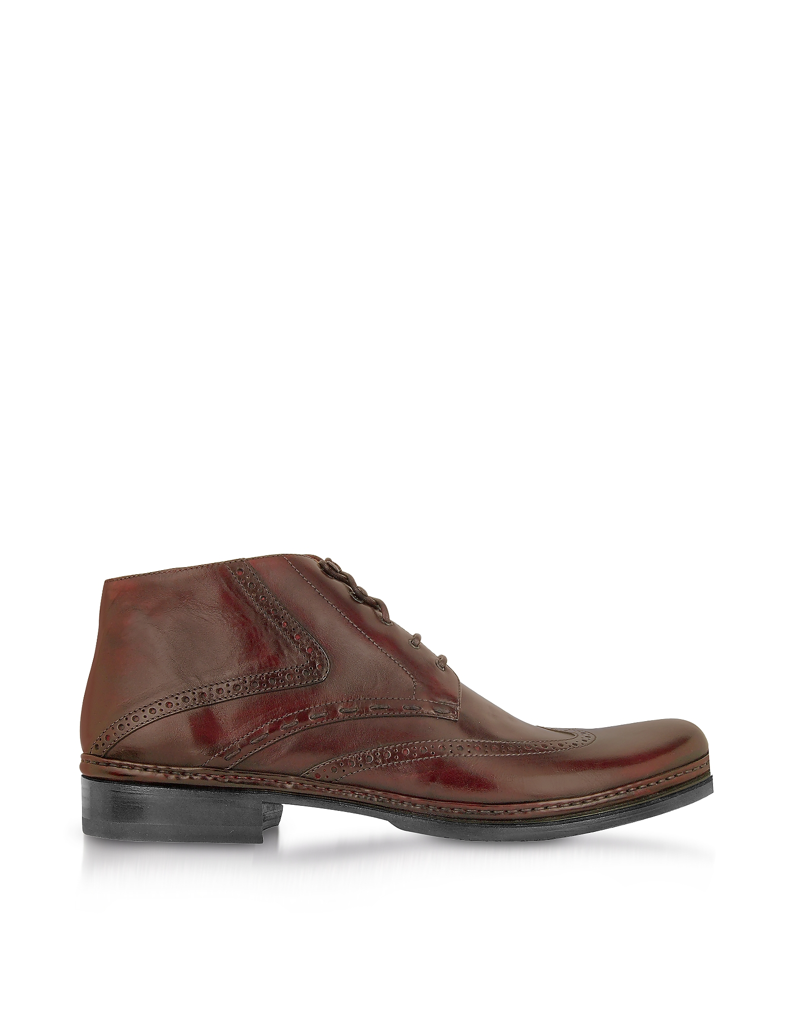 Pakerson Shoes, Burgundy Handmade Italian Leather Wingtip Ankle Boots