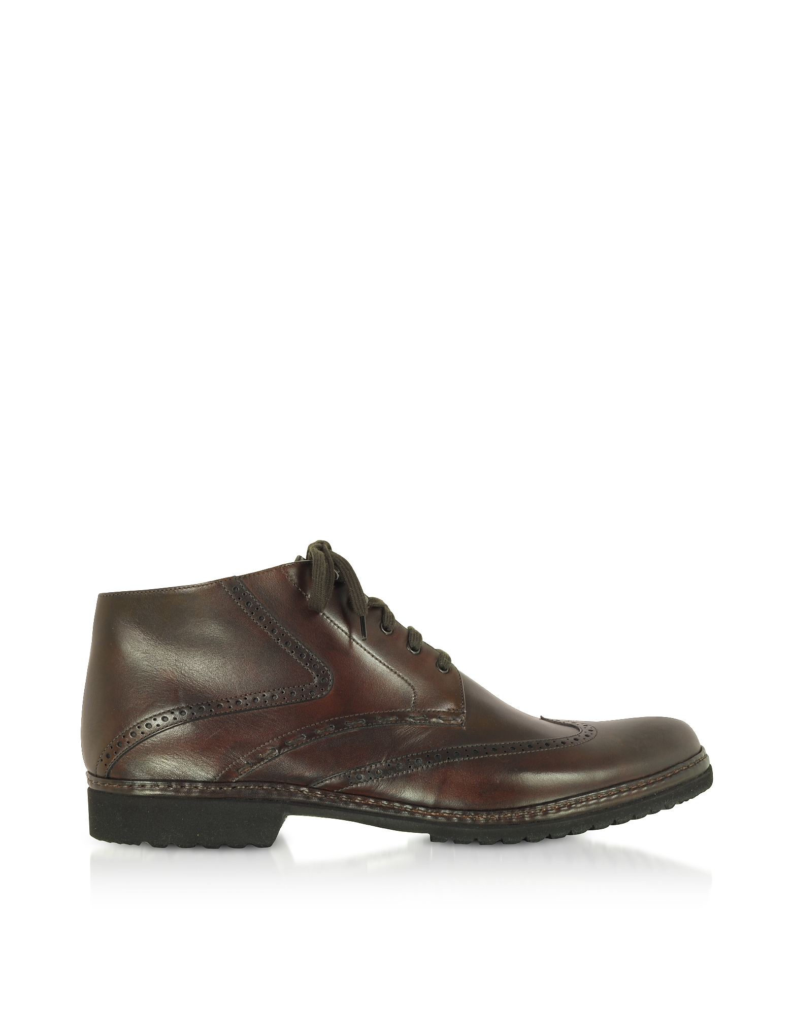 Pakerson Designer Shoes, Cocoa Handmade Italian Leather Wingtip Ankle Boots