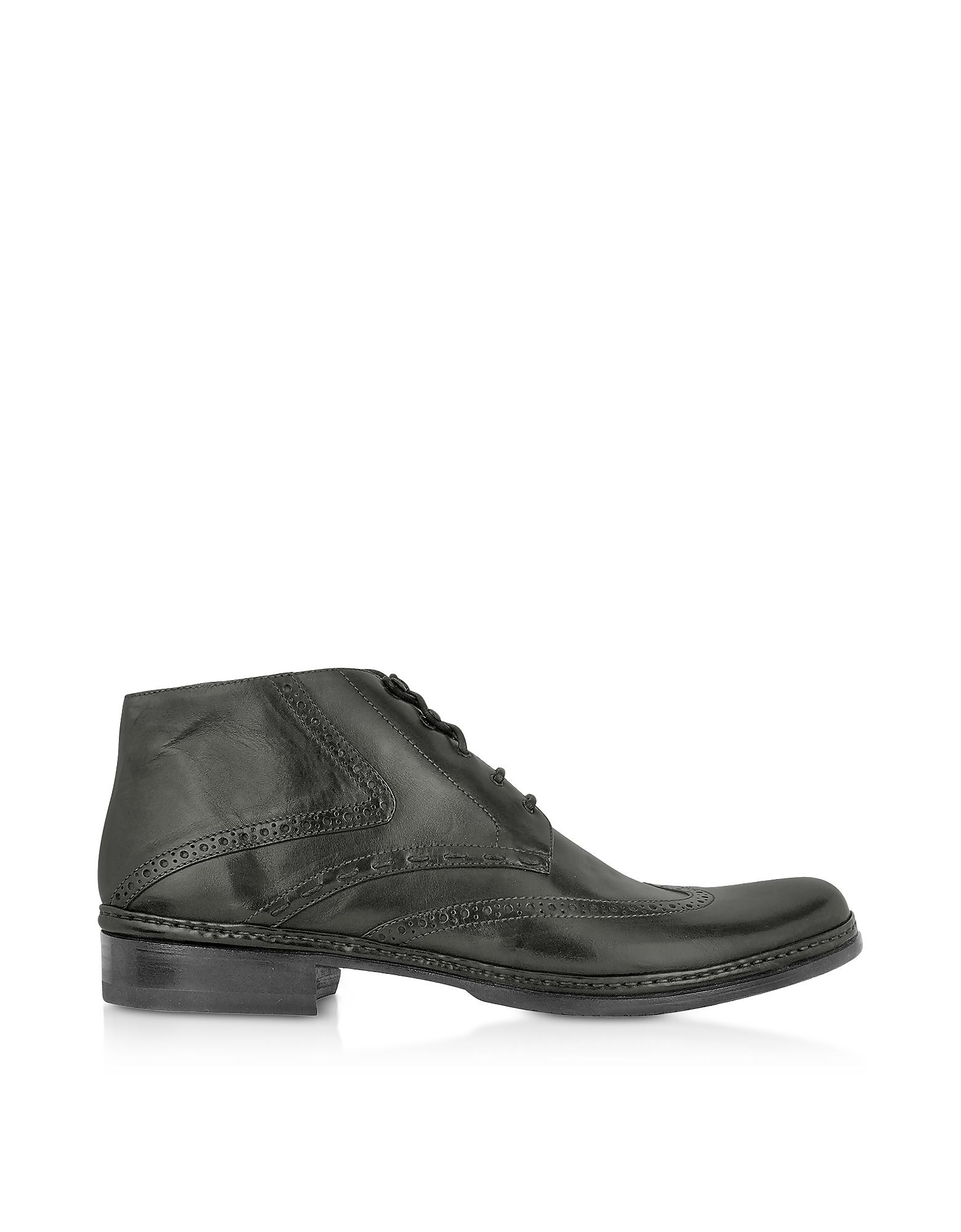 Black Handmade Italian Leather Wingtip Ankle Boots