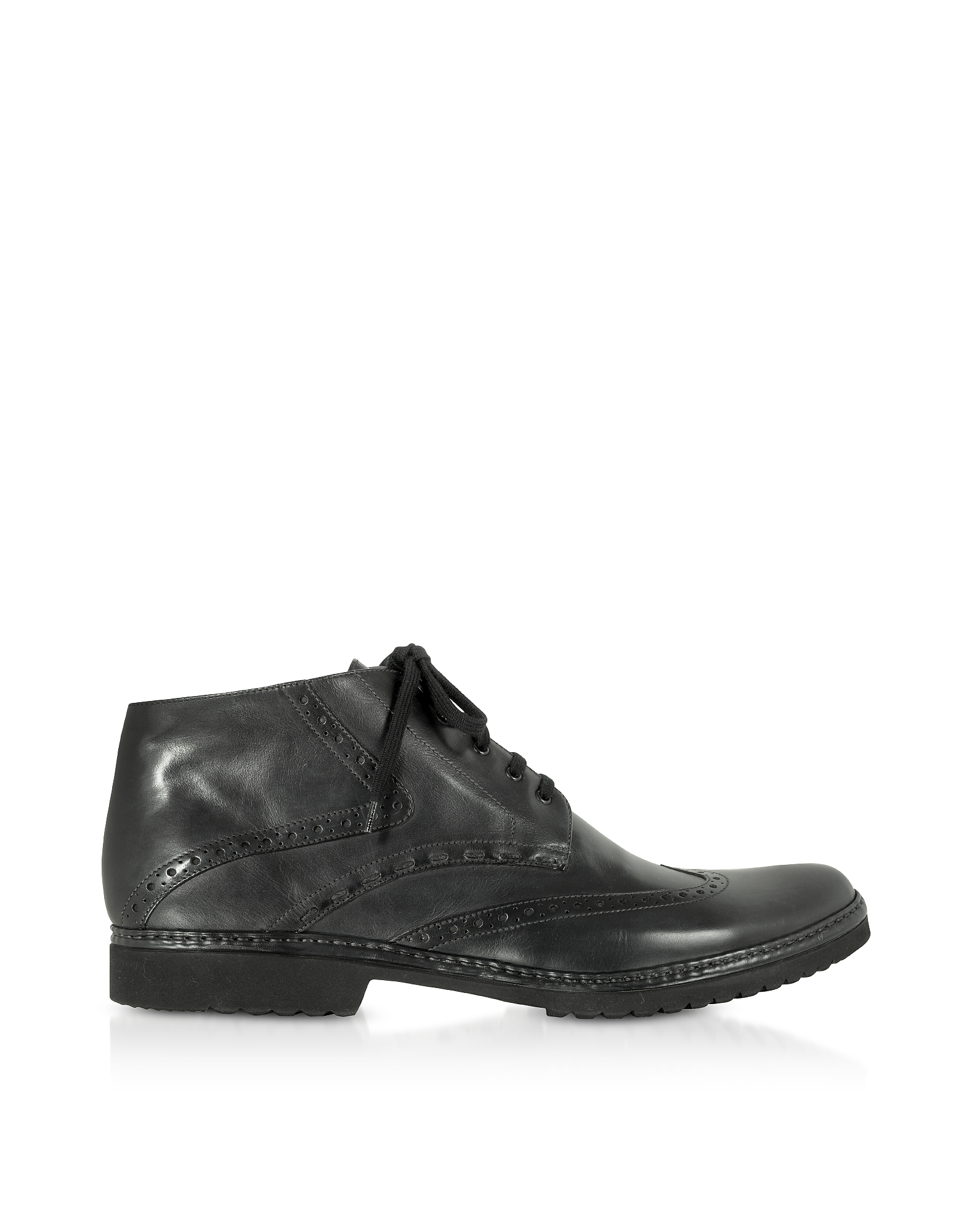 Pakerson Black Handmade Italian Leather Wingtip Ankle Boots