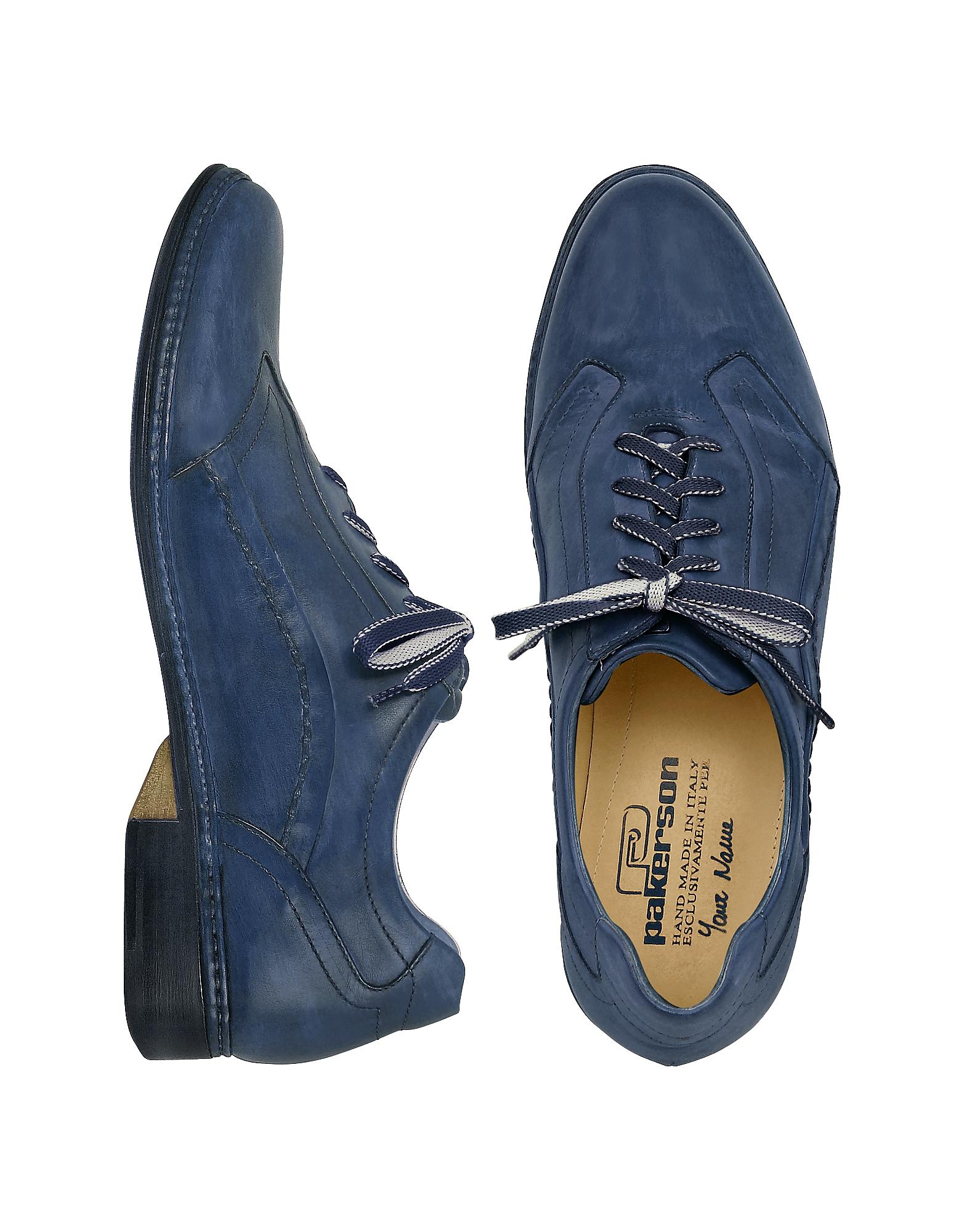 Итальянские Синие Кожаные Туфли на Шнуровке, Изготовленные Вручную
