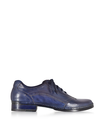 Mens Vintage Style Shoes & Boots| Retro Classic Shoes Blue Italian Handmade Leather Lace-up Shoes $430.00 AT vintagedancer.com