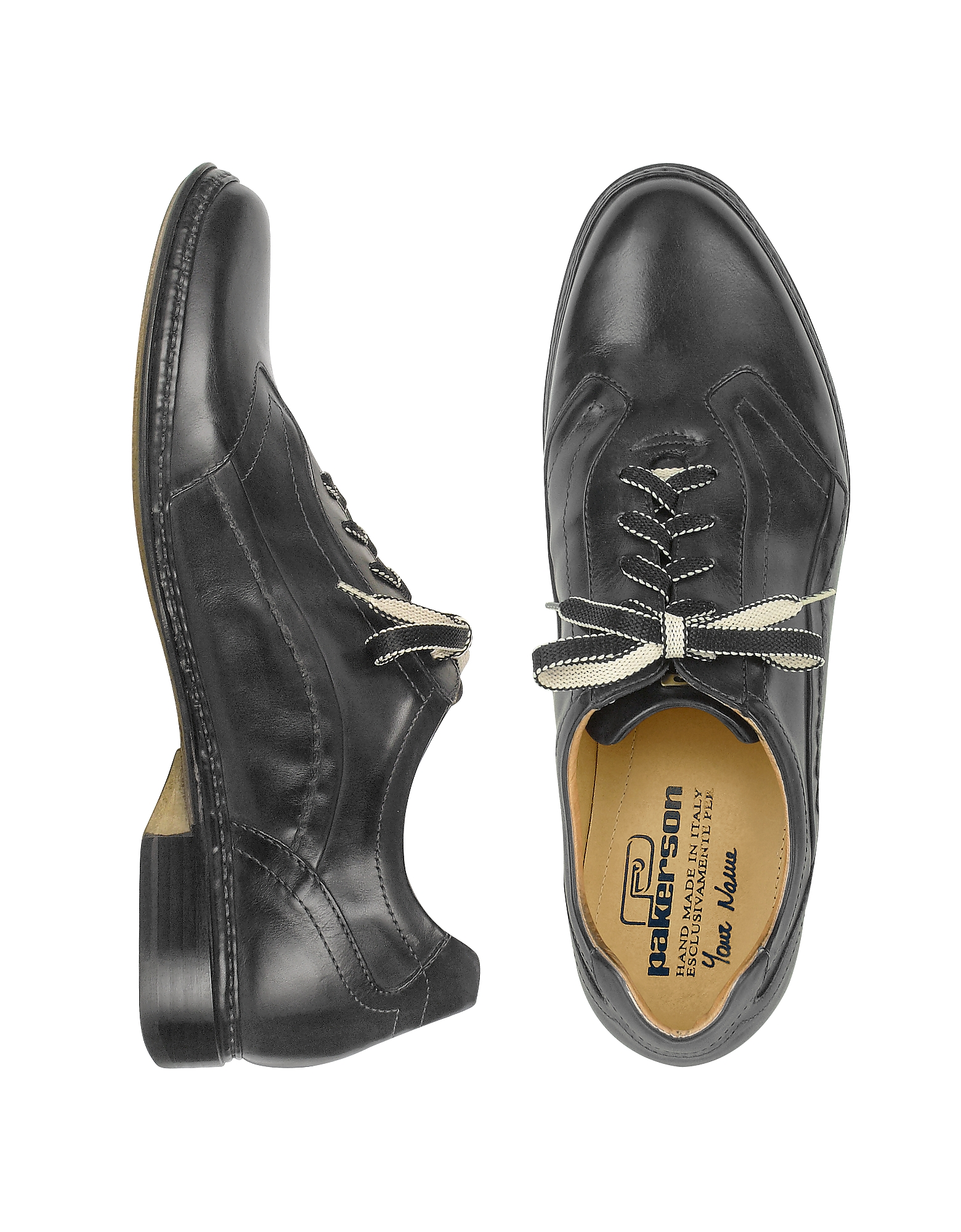 Pakerson Shoes, Black Italian Handmade Leather Lace-up Shoes