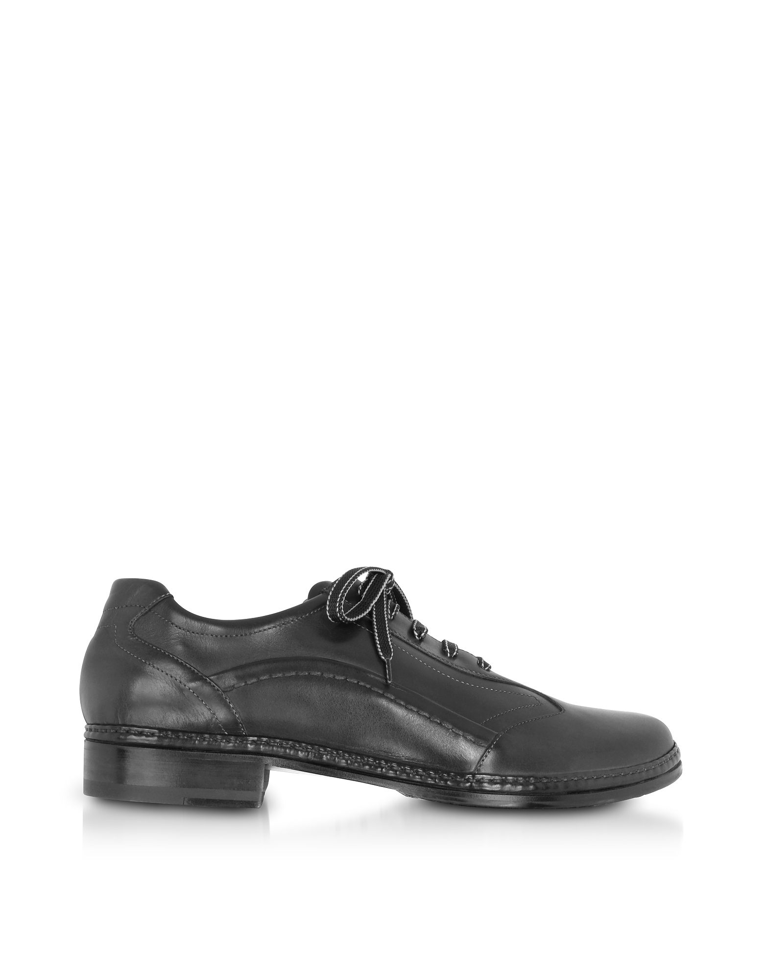 Image of Pakerson Designer Shoes, Black Italian Handmade Leather Lace-up Shoes
