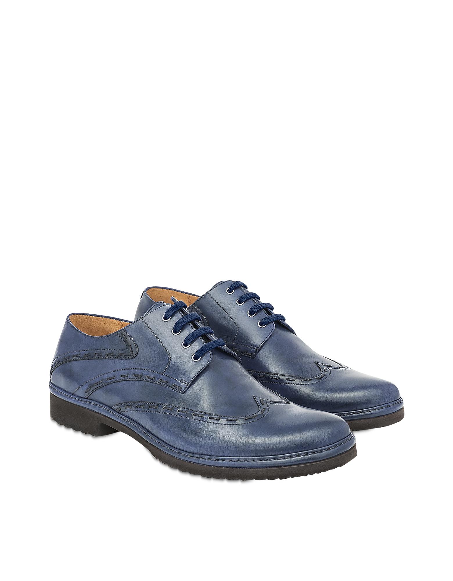 Pakerson Designer Shoes, Blue Cortona Derby Shoes