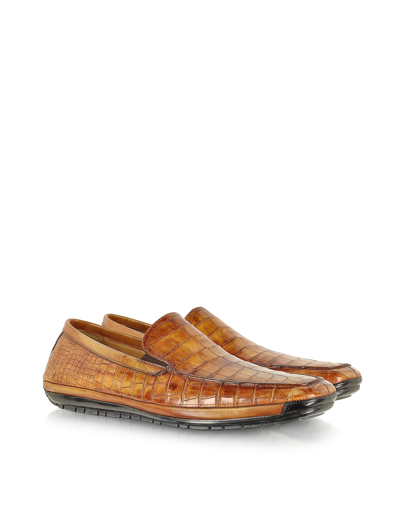 Pakerson Shoes, Light Brown Alligator Loafer
