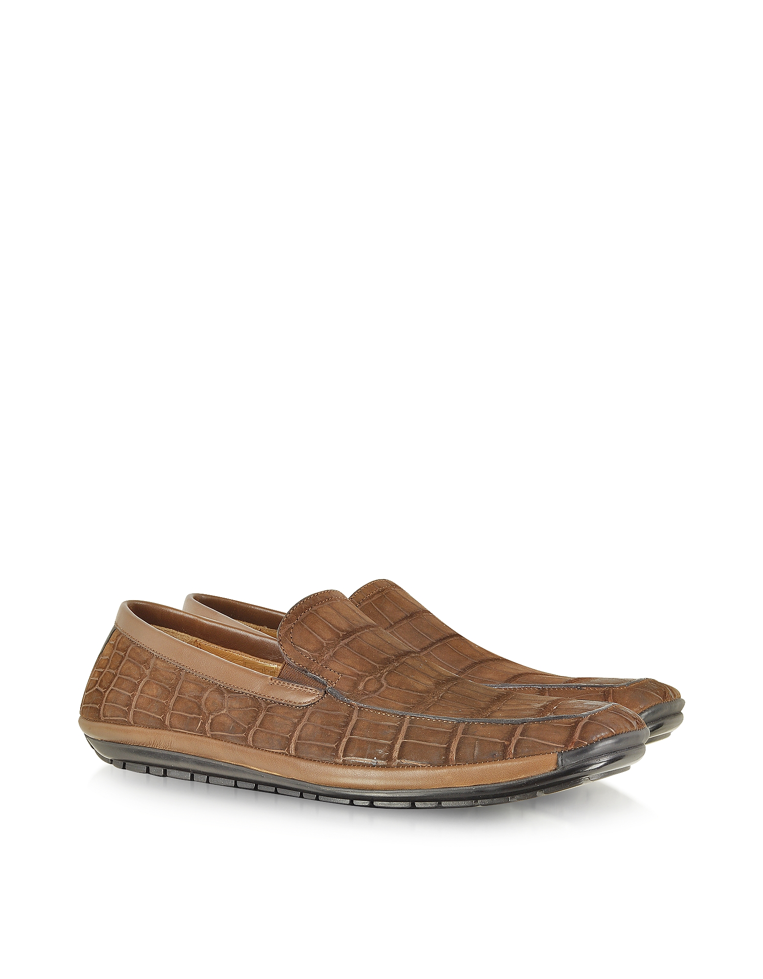 Pakerson Shoes, Brown Sueded Alligator Loafer