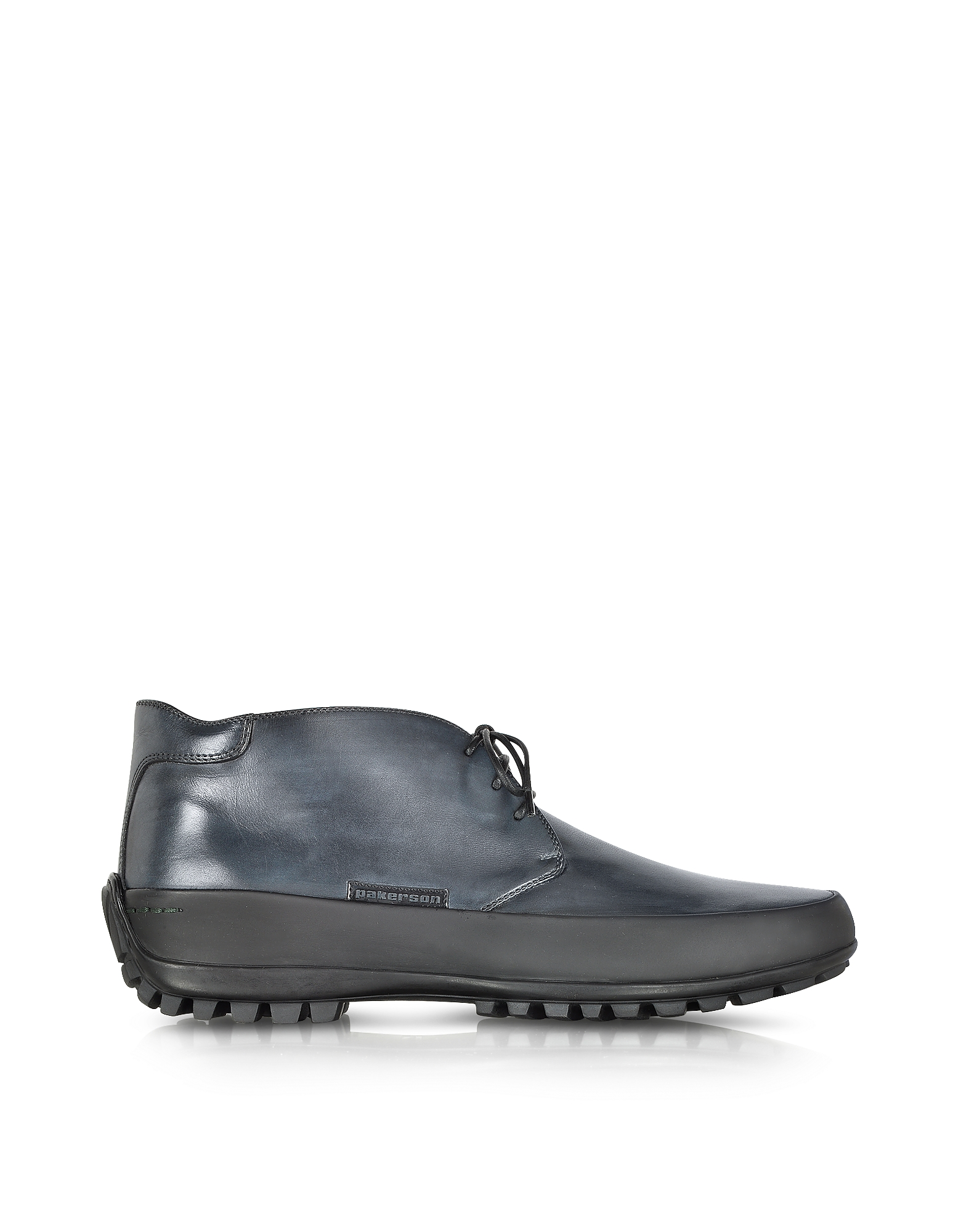 Pakerson Shoes, Smoke Blue Leather Ankle Boot w/Rubber Sole