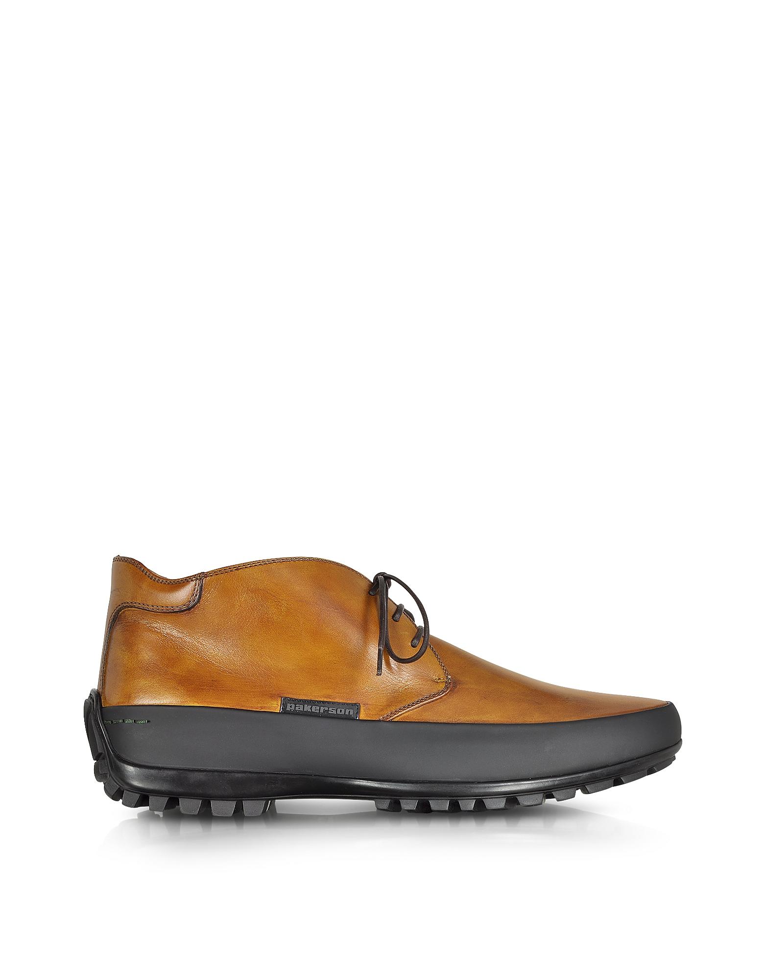 Горчично-желтые Кожаные Ботинки на Резиновой Подошве