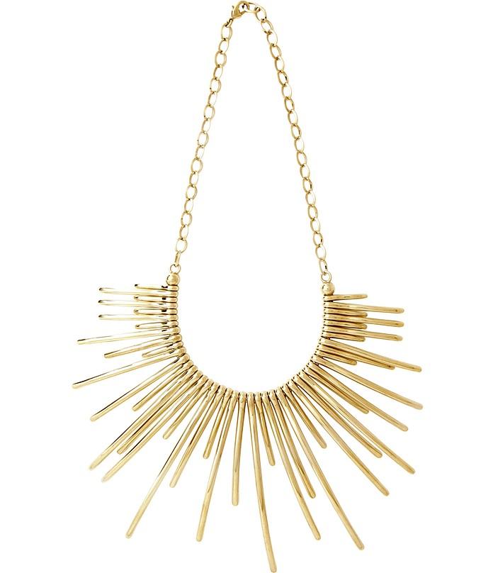 Sunburst Golden Brass Necklace - Pluma
