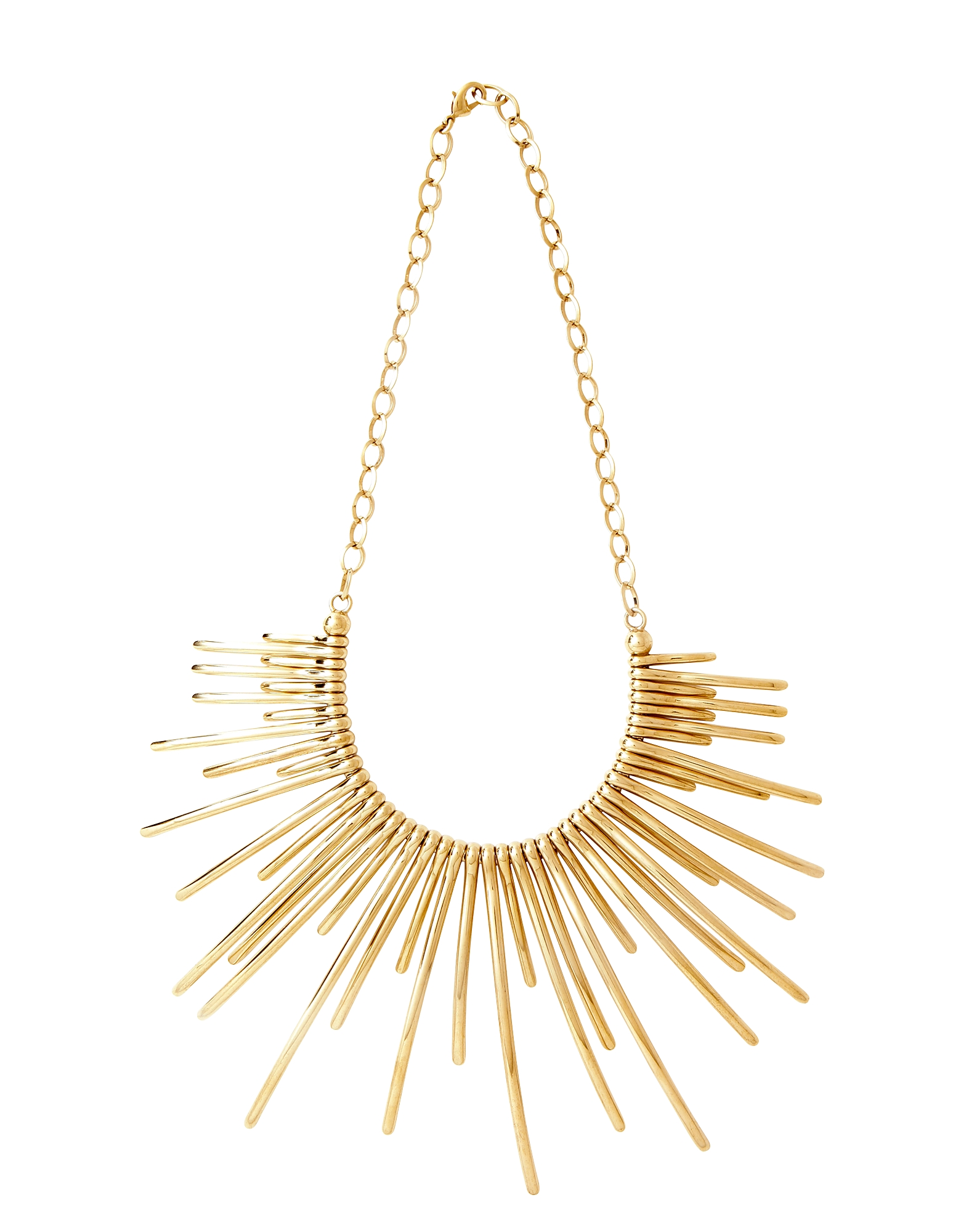 Pluma Necklaces, Sunburst Golden Brass Necklace