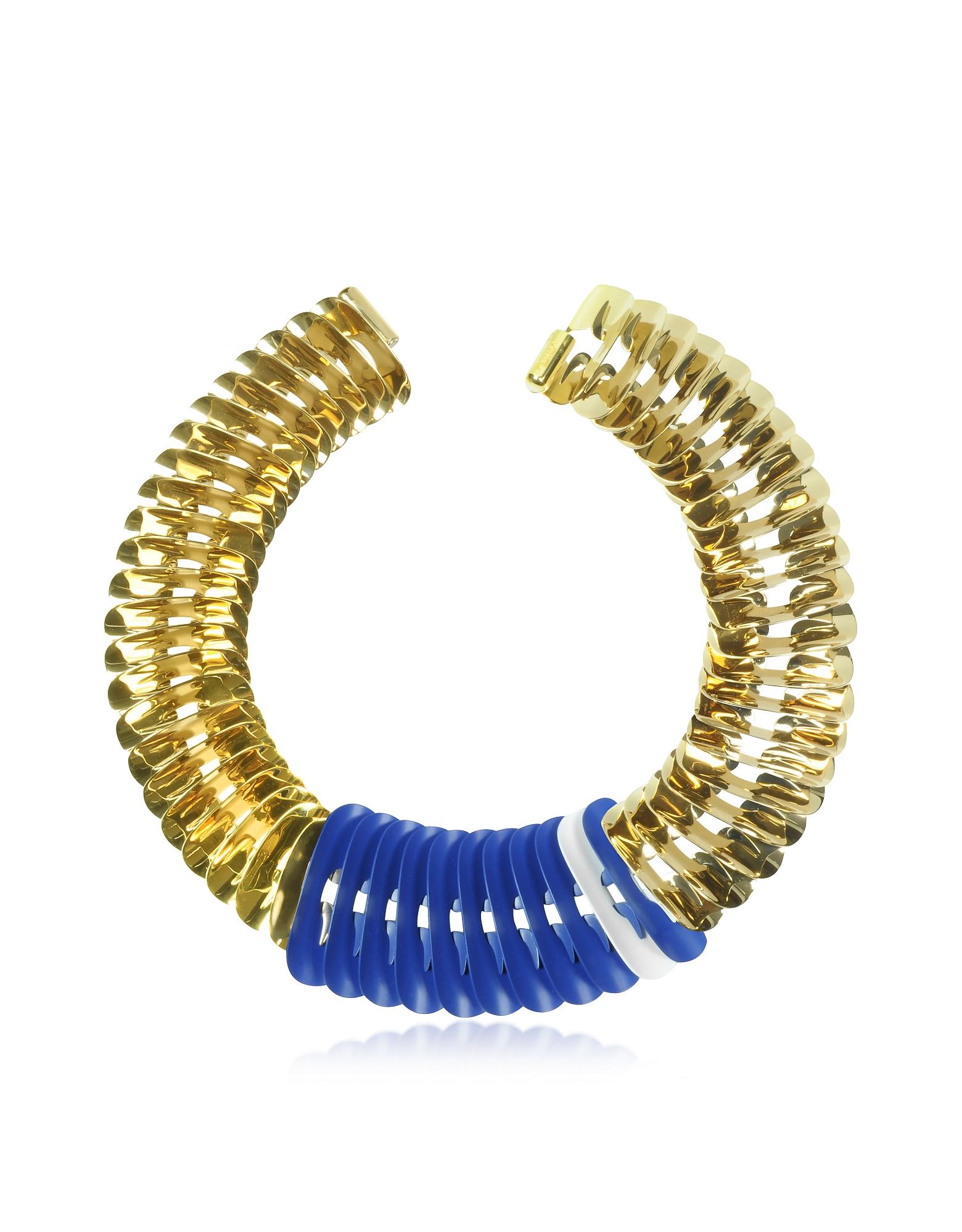Ожерелье Золотистого, Белого и Синего Цветов