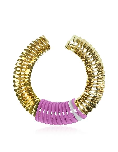 Foto Pluma Fishbone Collana Tubolare in Metallo Oro, Rosa e Bianco Ottico Collane