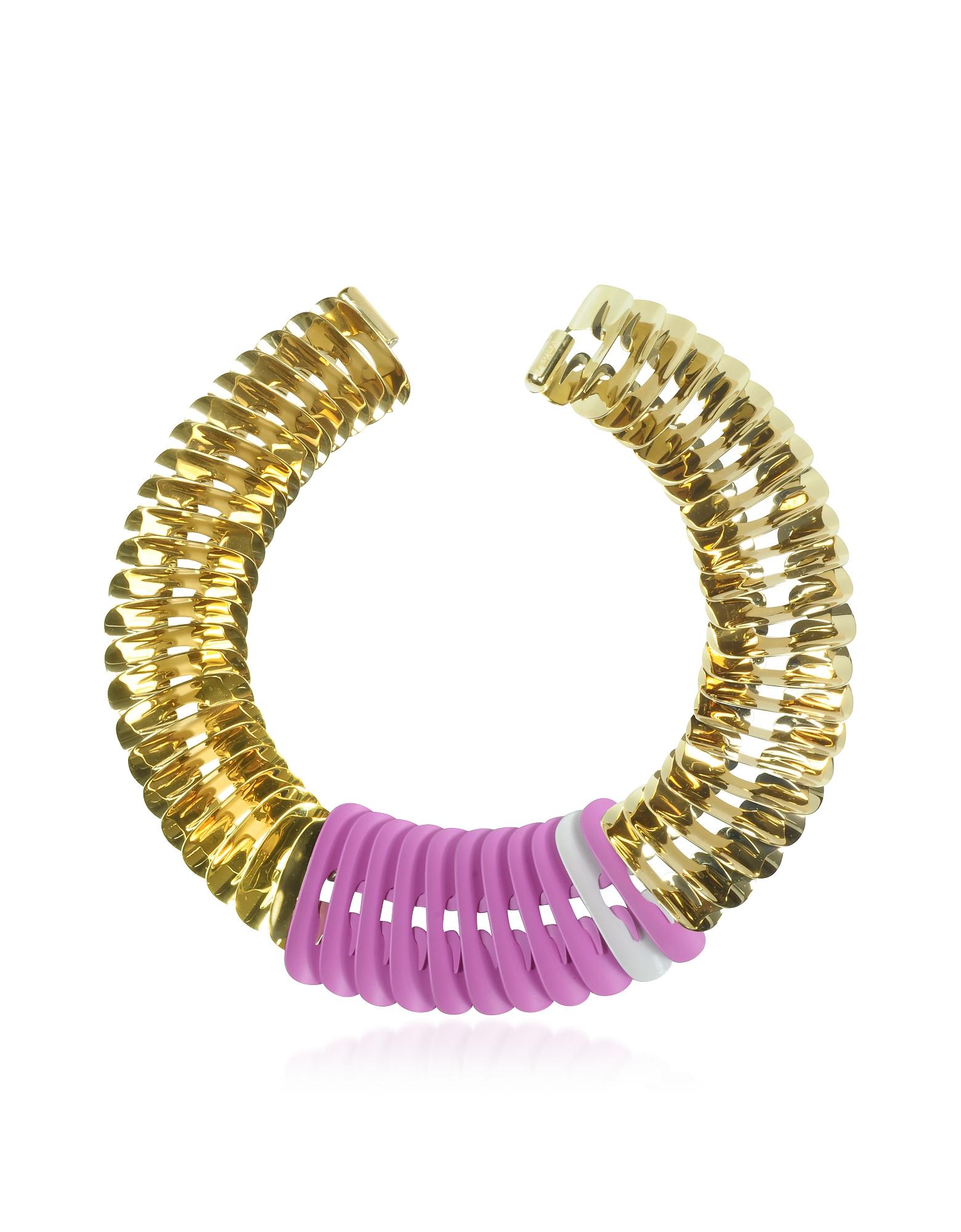 Ожерелье Золотистого, Белого и Розового Цветов