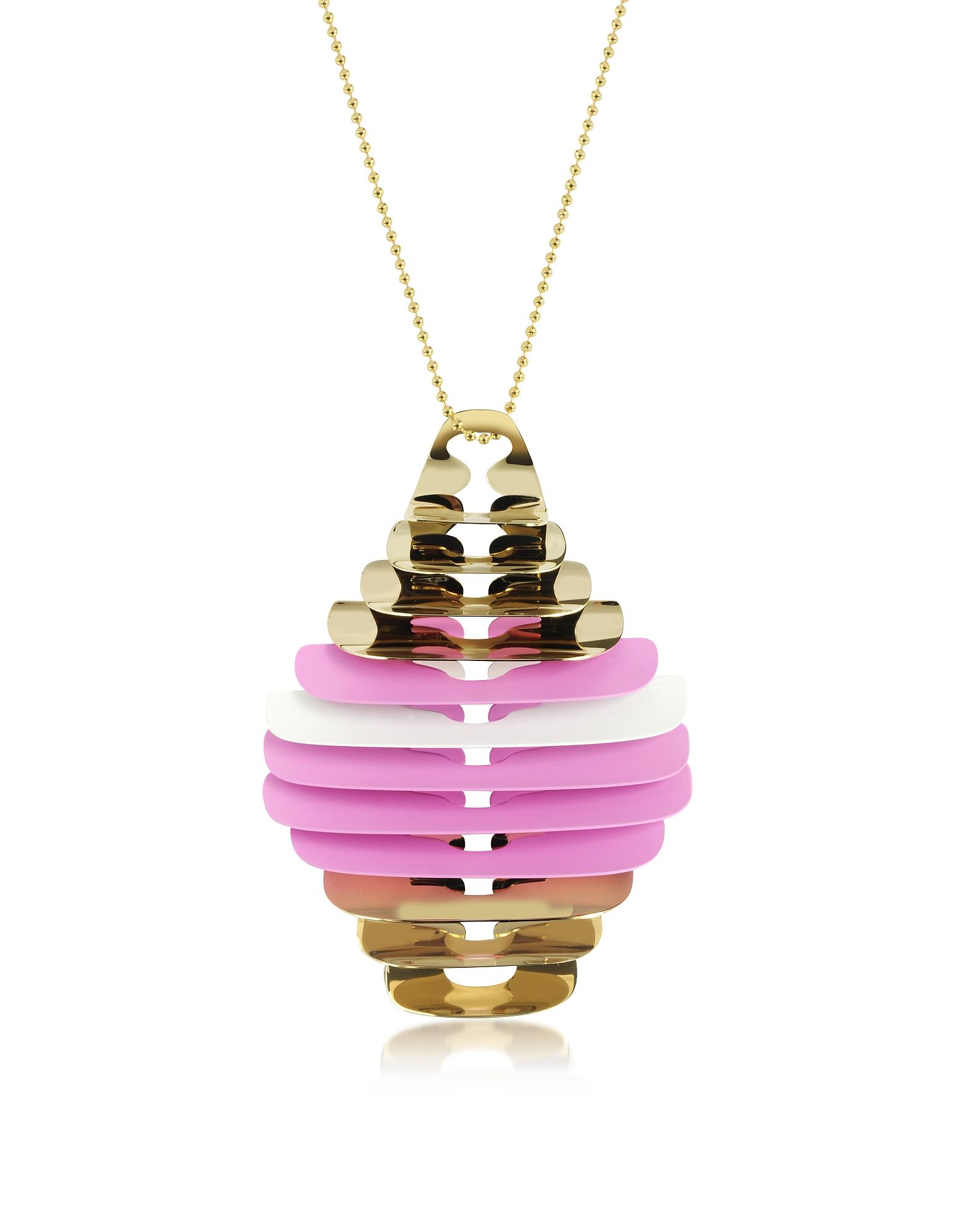 Ожерелье с Золотистой, Розовой и Белой Подвеской