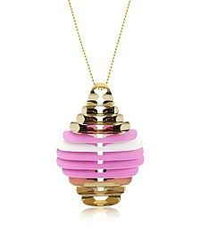 Gold, Pink and White Fishbone Pendant Necklace - Pluma