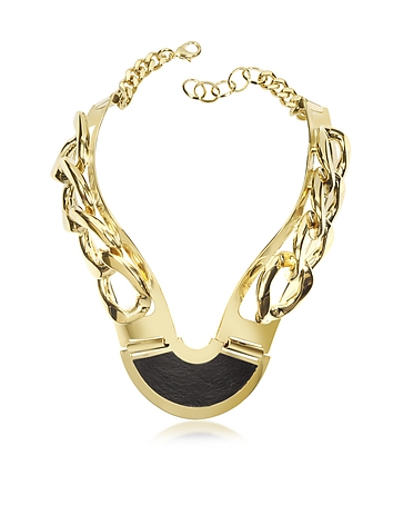 Gold Plated Brass and Black Leather Collar Chain Necklace pl290415-003-00