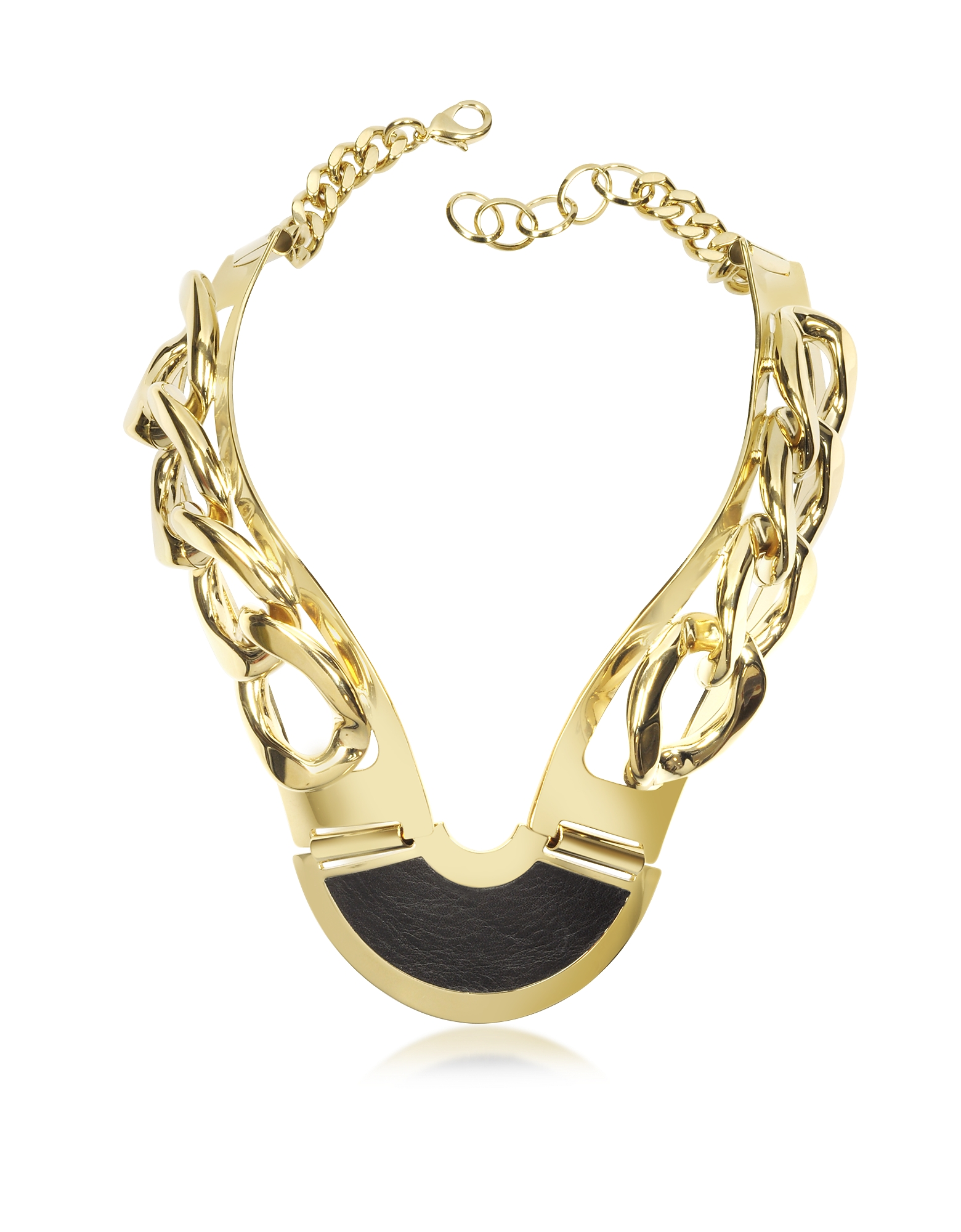 Pluma Necklaces, Gold Plated Brass and Black Leather Collar Chain Necklace