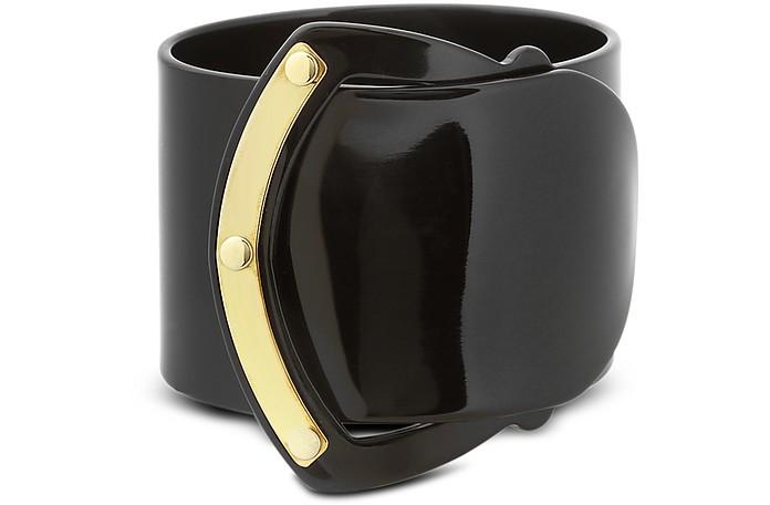 Black Resin Brass Viti Buckle Bracelet - Pluma