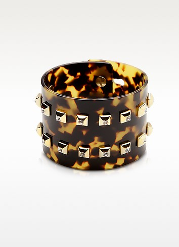 Resin and Brass Double Viti Large Bangle w/Crystals - Pluma