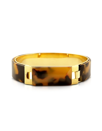 Pluma - Tortoise Resin and Golden Brass Bracelet