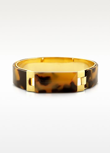 Tortoise Resin and Golden Brass Bracelet - Pluma