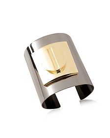 Two Tone Large Viti Brass Cuff in Fumoso - Pluma