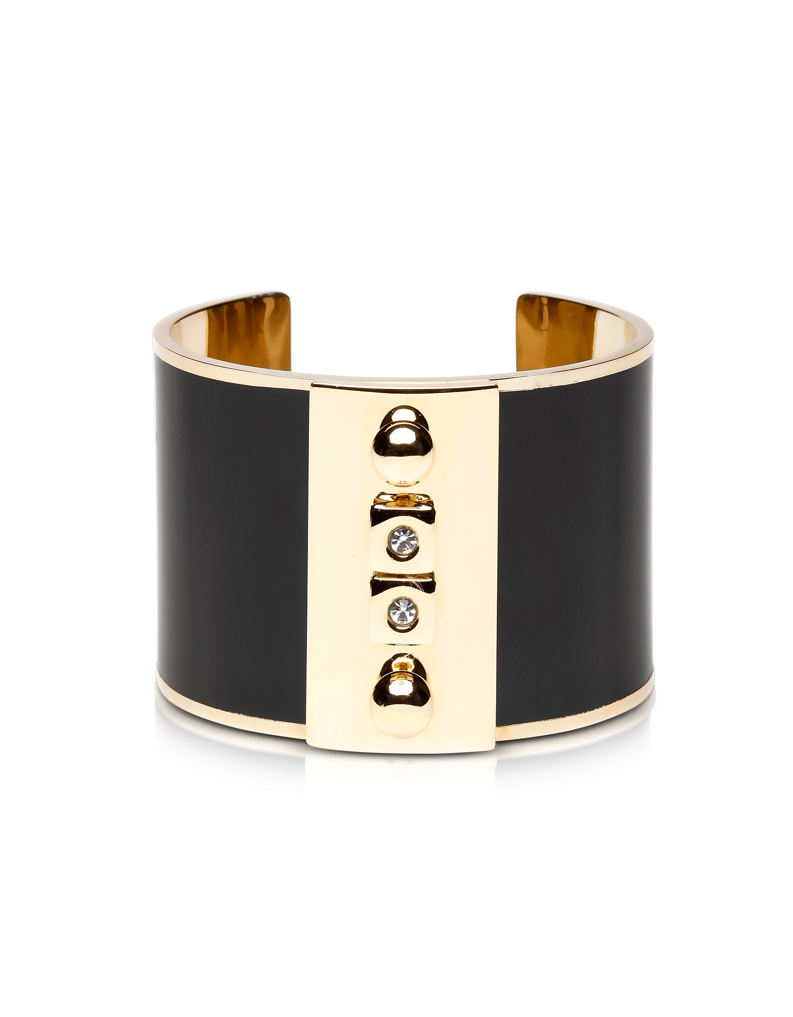 Pluma Bracelets, Golden Brass and Black Enamel Cuff