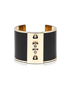 Golden Brass and Black Enamel Cuff - Pluma
