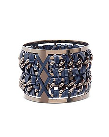 Gunmetal Brass and Navy Blue Leather Large Bangle in Fumoso - Pluma