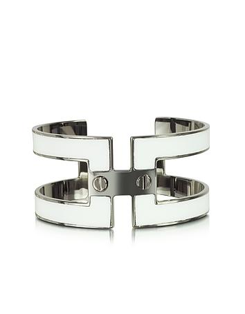 Pluma - White Brass Double Viti Small Cuff in Fumoso