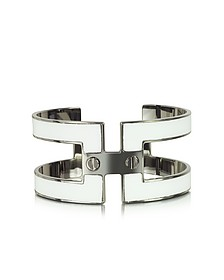 White Brass Double Viti Small Cuff in Fumoso - Pluma