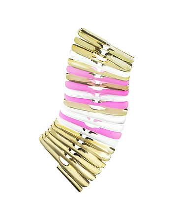 Gold White and Pink Fishbone Bangle