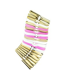 Gold, White and Pink Fishbone Bangle - Pluma
