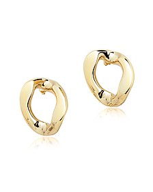 Golden Brass Link Earrings - Pluma