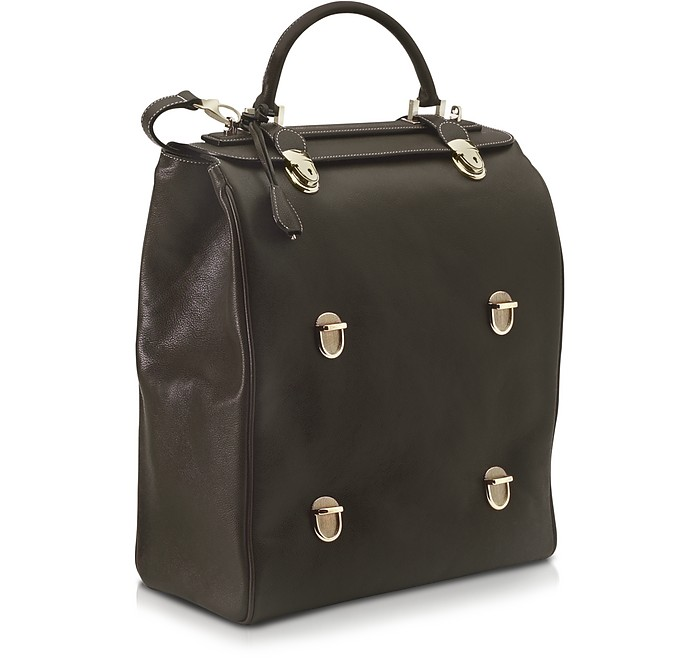Tri-Bag Multi-level Closure Leather Bag - Pineider