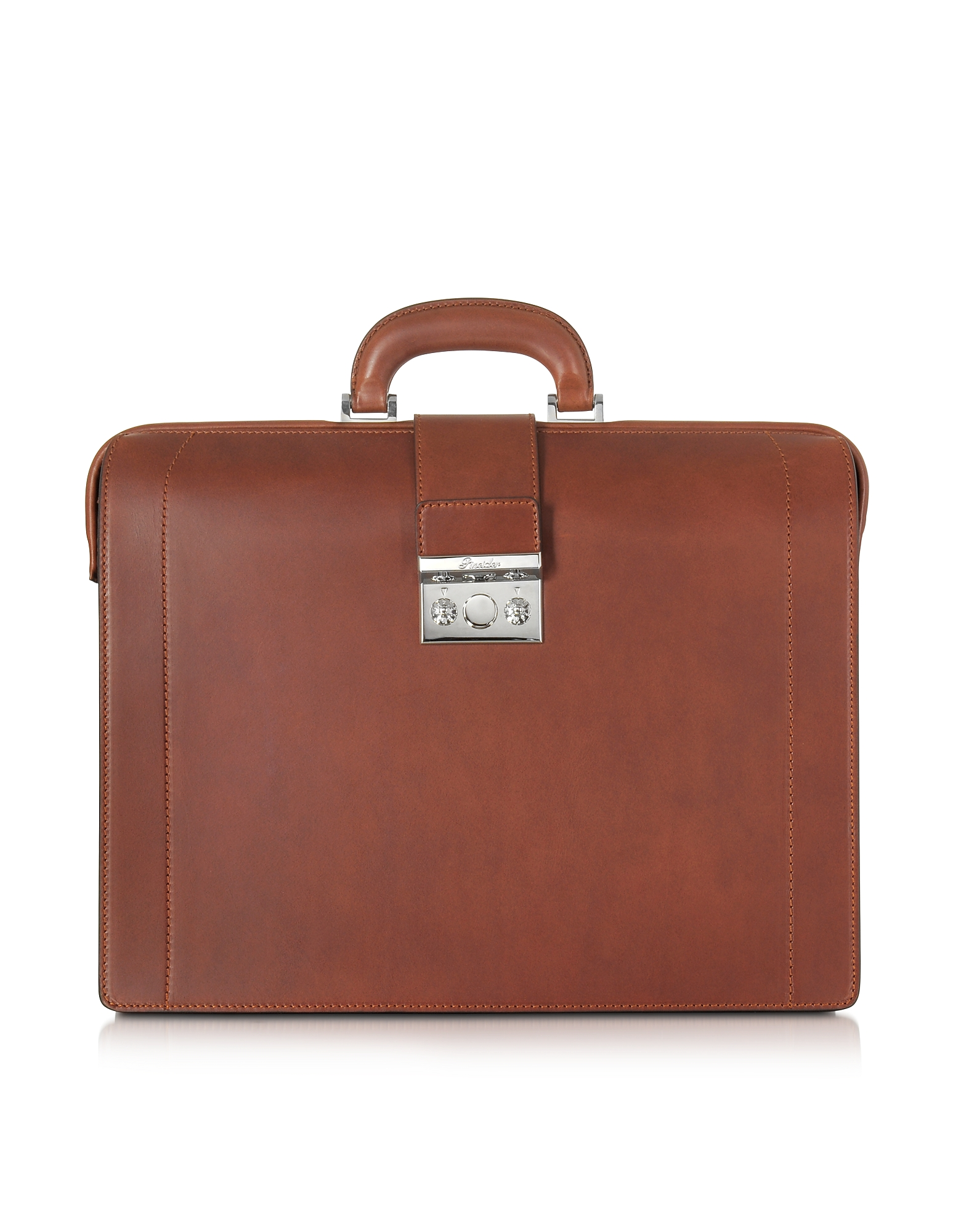 Pineider Briefcases, Medium Reddish Brown Leather Diplomatic Briefcase