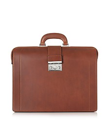 Medium Reddish Brown Leather Diplomatic Briefcase - Pineider