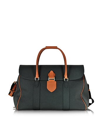 Pineider - Country Dark Grey Fabric and Brown Leather Travel Bag