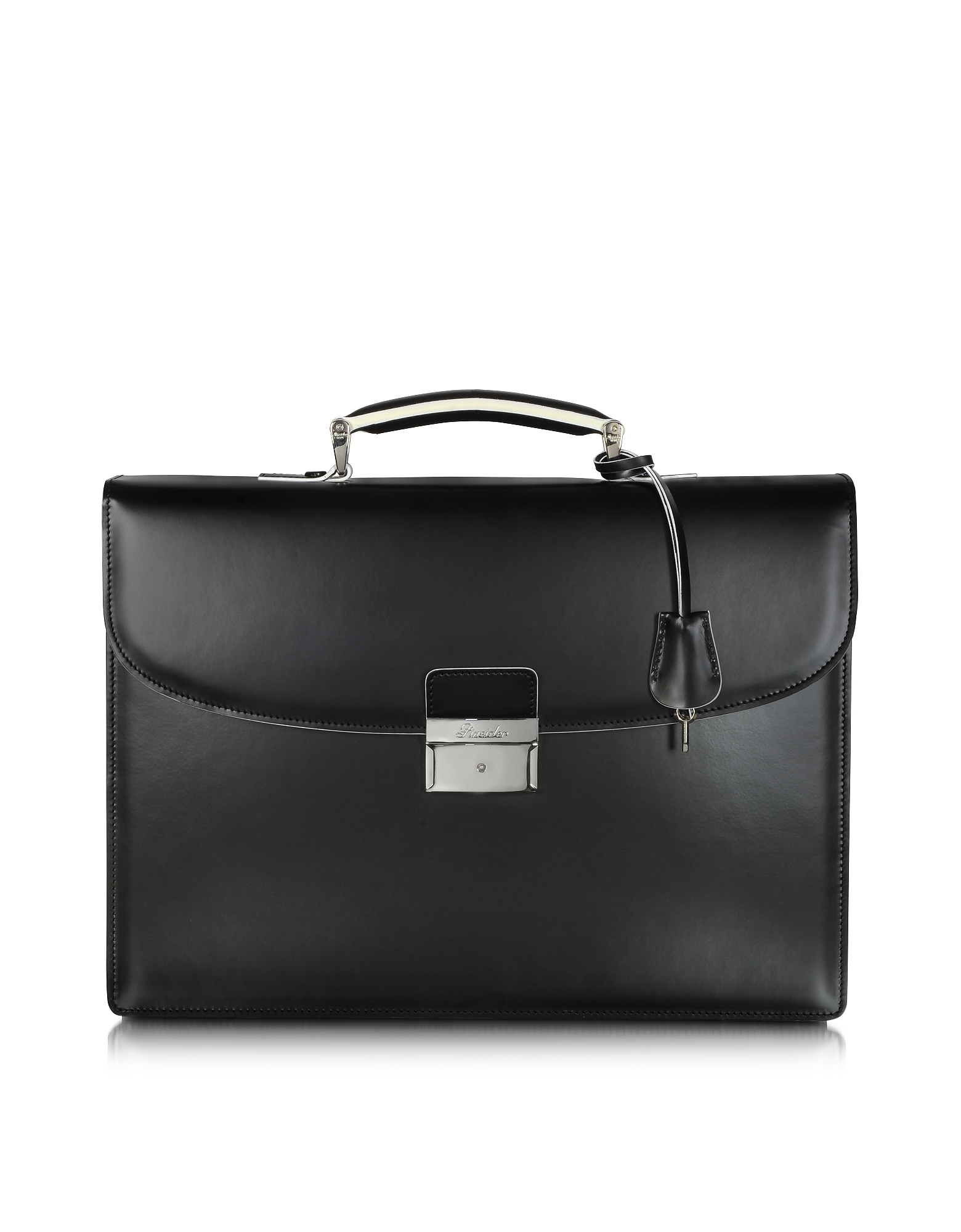 Pineider Briefcases, Optical Black and White Leather Briefcase