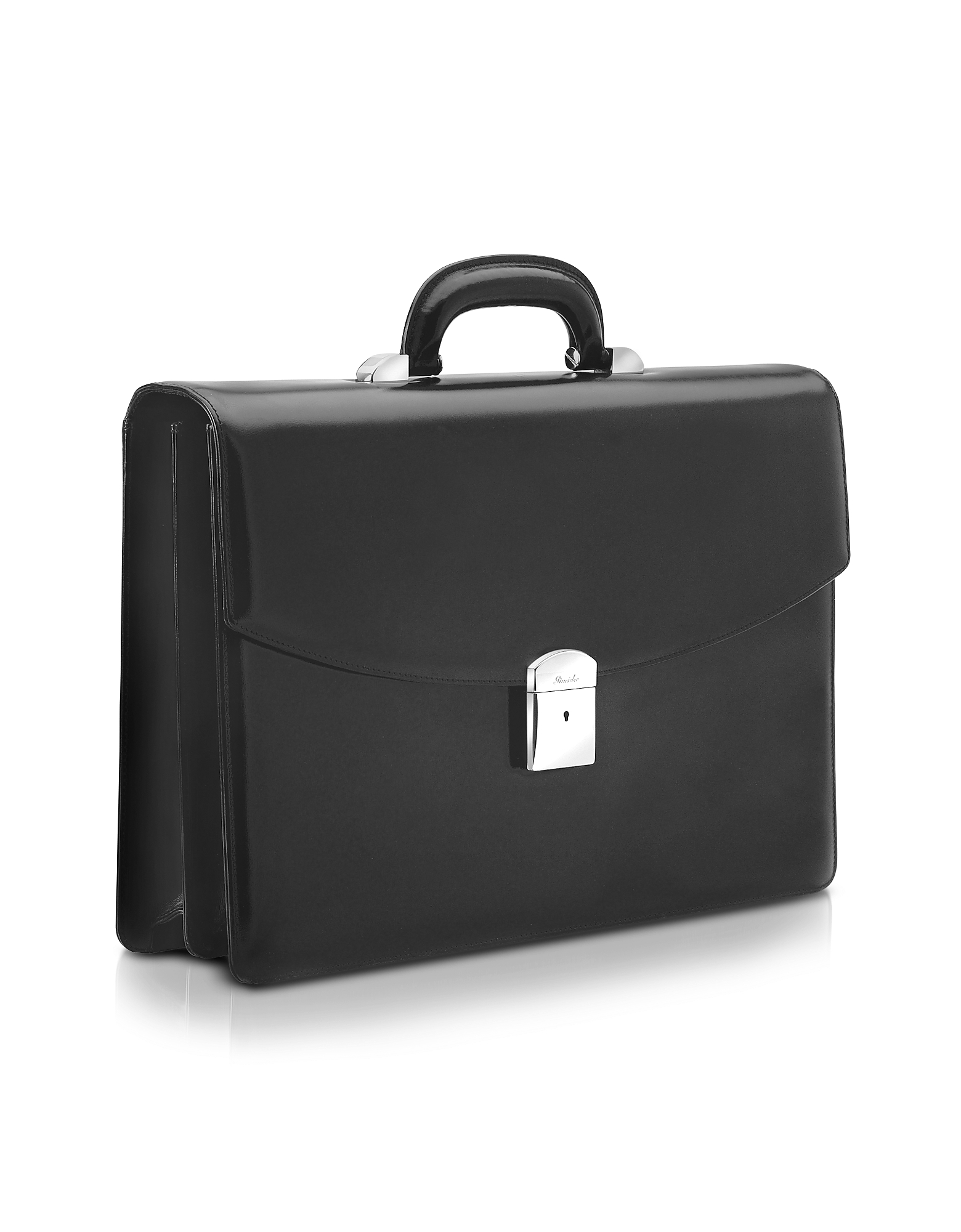 Pineider Briefcases, 1949 - Black Calfskin Double Gusset Briefcase
